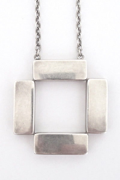 Georg Jensen large square pendant necklace #379 - Astrid Fog