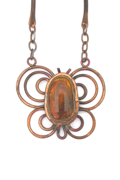 detail Rafael Alfandary Canada large copper butterfly pendant necklace amber glass stone vintage jewelry