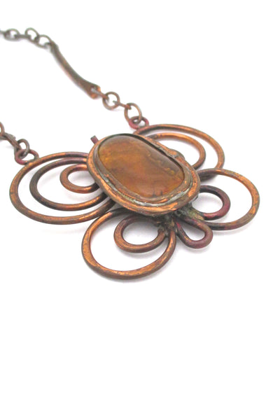 Rafael Canada copper large butterfly necklace ~ amber stone