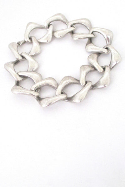 hidden closure Yves St Laurent vintage silver heavy chain link bracelet
