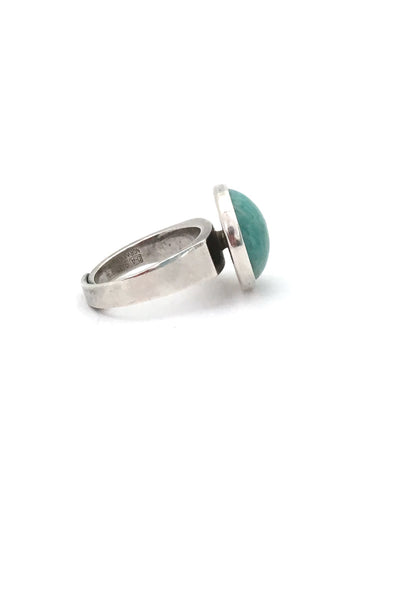 detail David-Andersen Norway vintage Scandinavian Modernist silver and amazonite ring