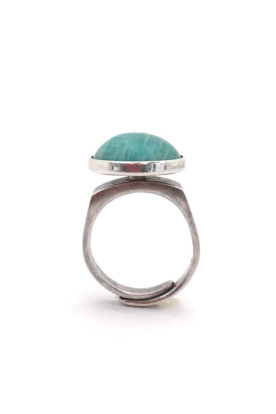 profile David-Andersen Norway vintage Scandinavian Modernist silver and amazonite ring