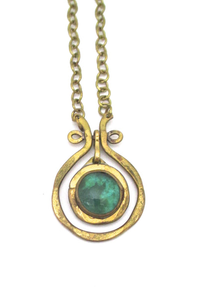 detail Rafael Alfandary Canada  mini brass classic kinetic pendant clear green stone vintage jewelry