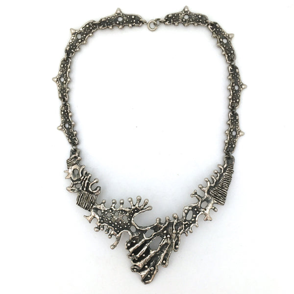 Guy Vidal brutalist pewter large bib necklace ~ ON HOLD