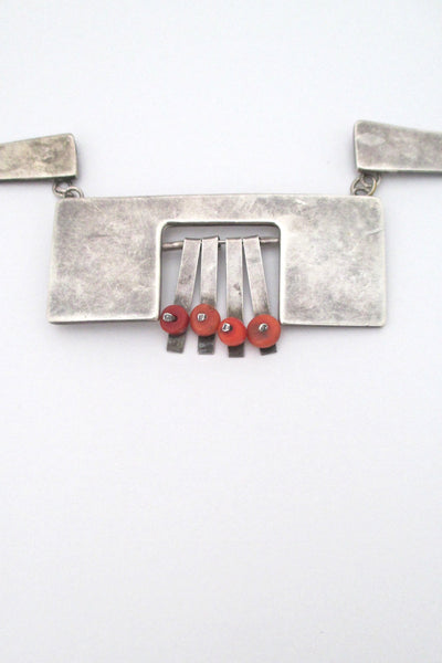 detail vintage modernist silver studio made large bib necklace with coral