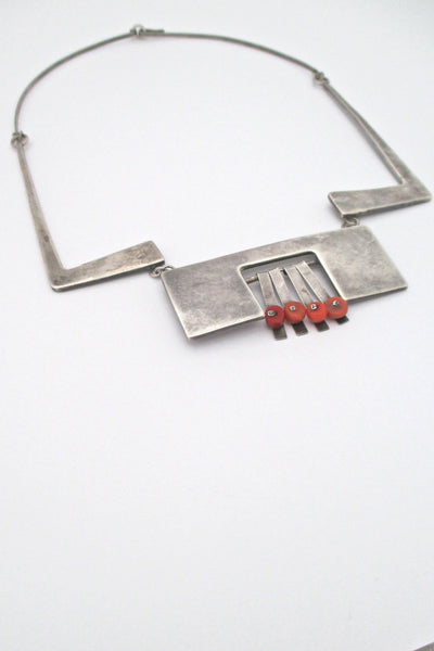 profile vintage modernist silver studio made large bib necklace with coral