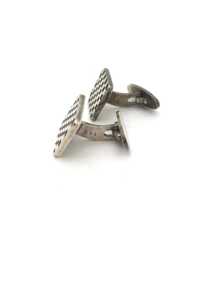 profile Georg Jensen Denmark vintage silver checkerboard cufflinks 113 by Flemming Eskildsen