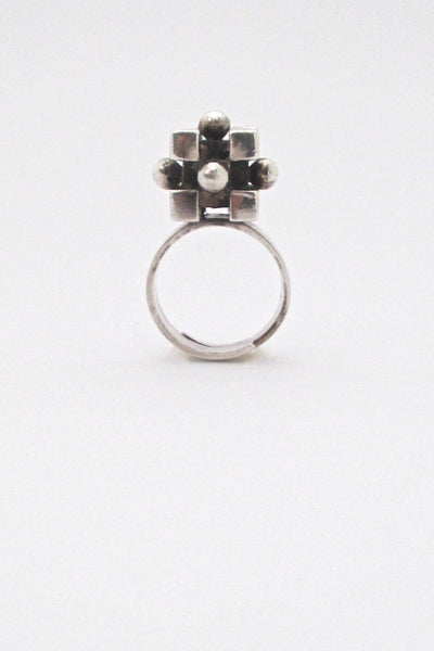 detail Pentti Sarpaneva Finland vintage silver heavy cubes spheres ring mid century design