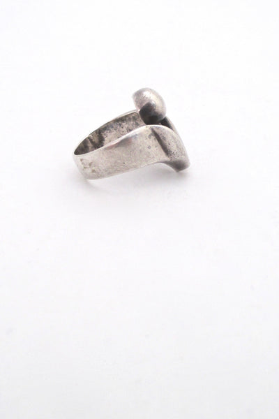 profile Georges Delrue Canada sculptural silver ring vintage Canadian Modernist jewelry