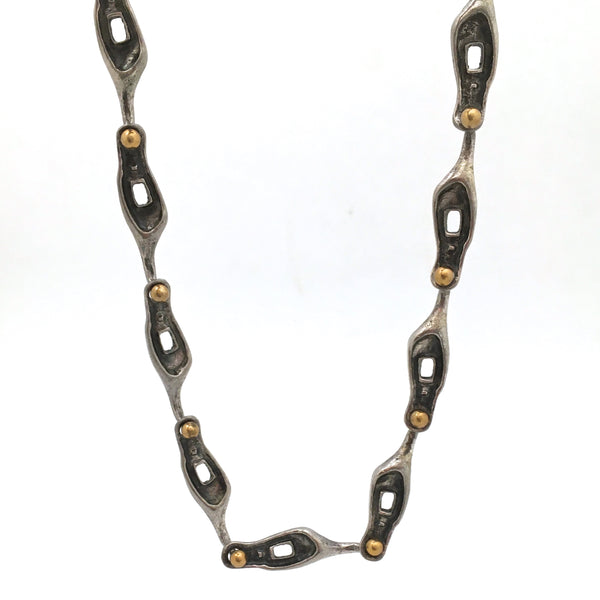 brutalist pewter & brass large link chain necklace ~ unusual connectors