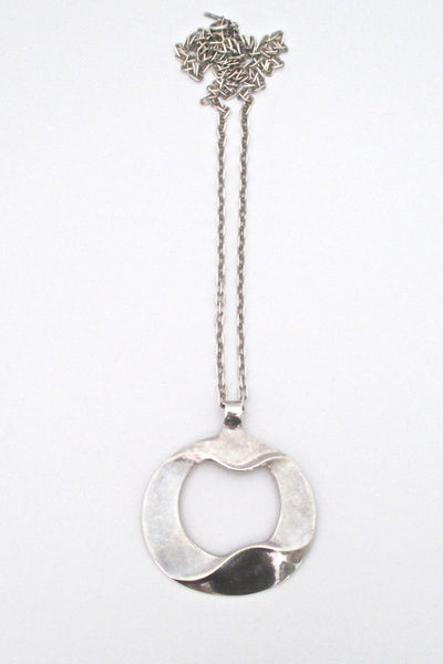 Georg Jensen large silver pendant & chain #121 - Ibe Dahlquist