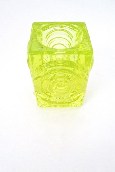 Riihimaki 'Rengas' uranium glass candle holders by Tamara Aladin