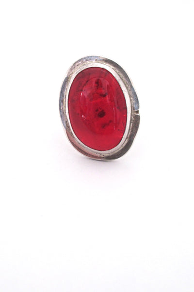 Rafael Alfandary Canada vintage brutalist sterling silver large red glass stone ring