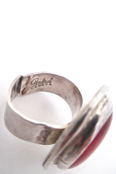 Rafael Canada sterling ring - clear red