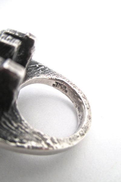 Thor Selzer heavy silver brutalist ring ~ 1970s