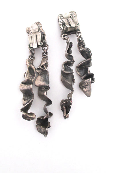 brutalist silver & synthetic ruby long drop earrings