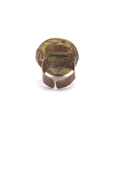 Rafael Canada brass ring ~ large amber oval stone
