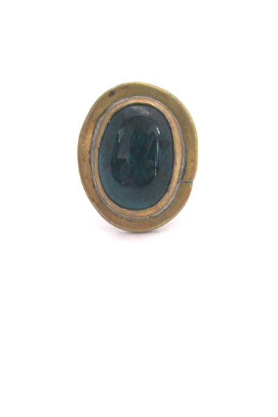 detail Rafael Alfandary Canada brass oval dark teal glass stone ring vintage Canadian Modernist jewelry