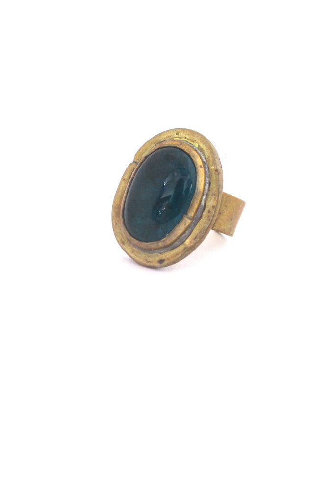 Rafael Alfandary Canada brass oval dark teal glass stone ring vintage Canadian Modernist jewelry