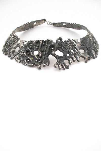 detail Guy Vidal Canada large brutalist pewter neck piece