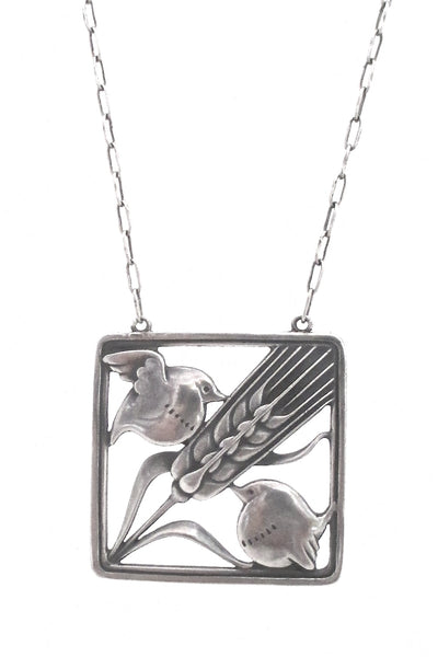 detail Georg Jensen Denmark vintage silver birds and wheat pendant necklace 93 by Arno Malinowski