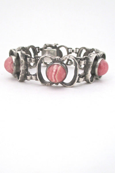 detail brutalist silver and rhodochrosite vintage link bracelet in the style of TeKa or Relo