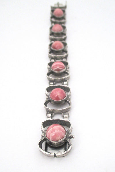 brutalist silver and rhodochrosite vintage link bracelet in the style of TeKa or Relo