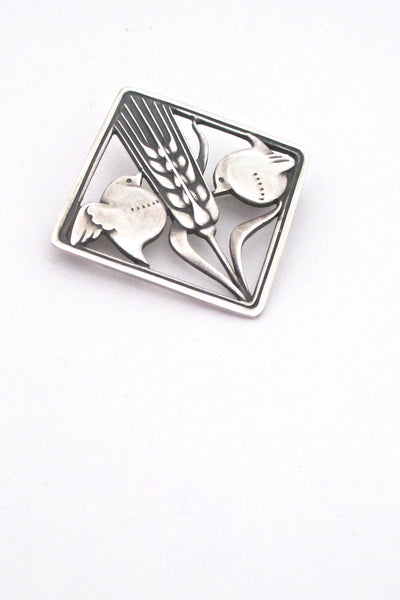 detail Georg Jensen Denmark vintage silver bird wheat brooch 250 by Arno Malinowski