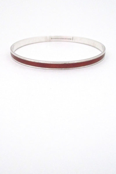 David-Andersen Norway vintage Scandinavian Modernist sterling silver & enamel burnt orange bangle bracelet