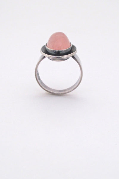 profile Niels Erik NE From Denmark vintage Scandinavian Modern silver rose quartz ring