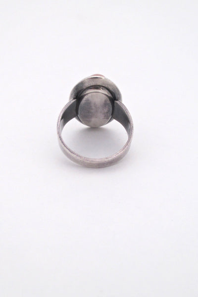 NE From silver & rose quartz ring