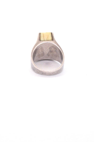 S'Paliu heavy silver & ivory-coloured inset ring