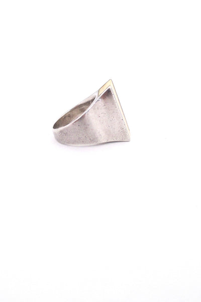 profile Joachim S'Paliu Spain heavy silver ivory ring vintage Modernist design jewelry