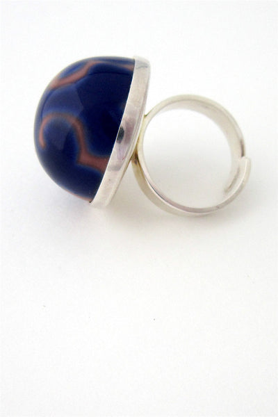 Porsgrund, Norway silver & porcelain ring by Anne Marie Odegaard