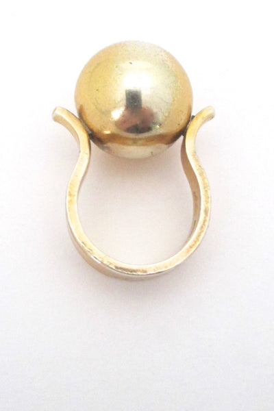 Arne Johansen large sphere silver gilt ring