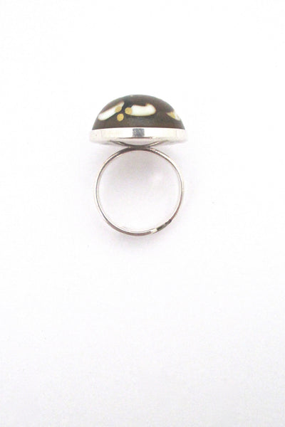 profile Porsgrund Norway vintage silver and porcelain ring by Anne Marie Odegaard
