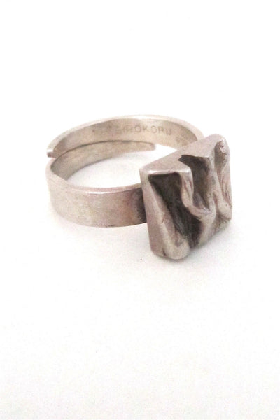 Matti Hyvarinen Finland vintage silver modernist bark ring
