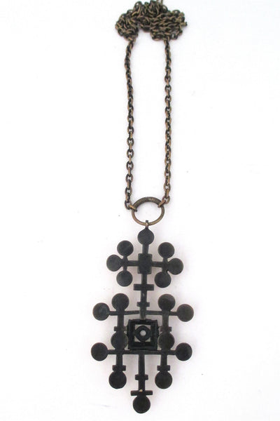 Pentti Sarpaneva large bronze pendant necklace