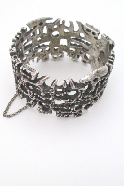 top Guy Vidal Canada vintage brutalist pewter pin closure large hinged bracelet mid century jewelry
