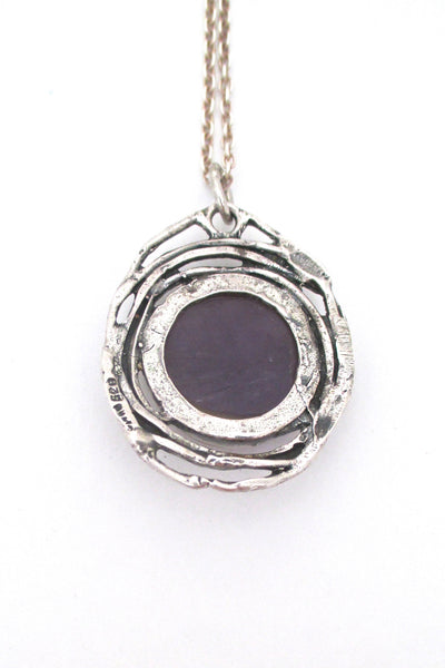 Engla Germany brutalist silver & amethyst pendant necklace