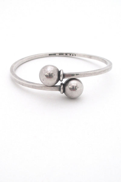 Hans Hansen modernist silver spheres bangle