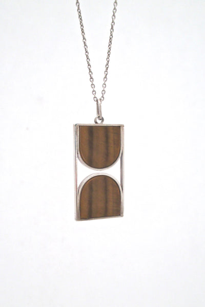 detail vintage mid century modern silver tiger eye graphic pendant necklace modernist design vintage jewelry