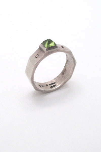 profile Lisa Jenks USA vintage boho sterling silver peridot ring