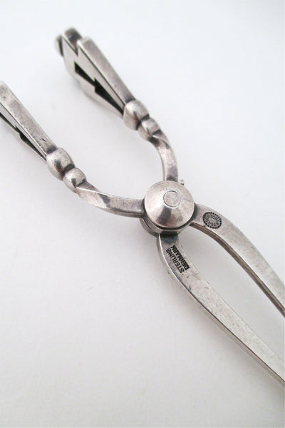 Georg Jensen sterling 'Pyramid' sugar tongs