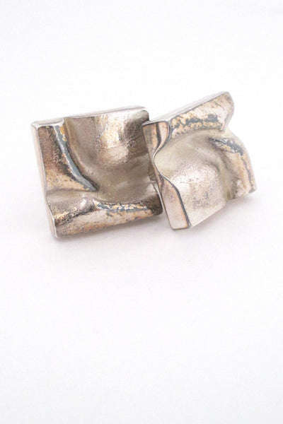 detail Bjorn Weckstrom for Lapponia Finland 1972 large square silver cufflinks