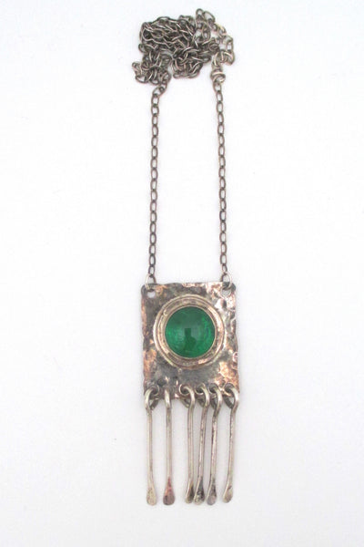 Rafael Canada clear grass green & sterling fringe necklace - rare
