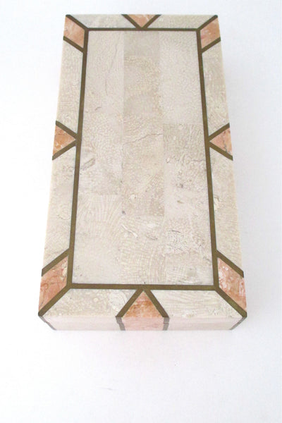 top Maitland Smith tessellated stone and brass lidded box
