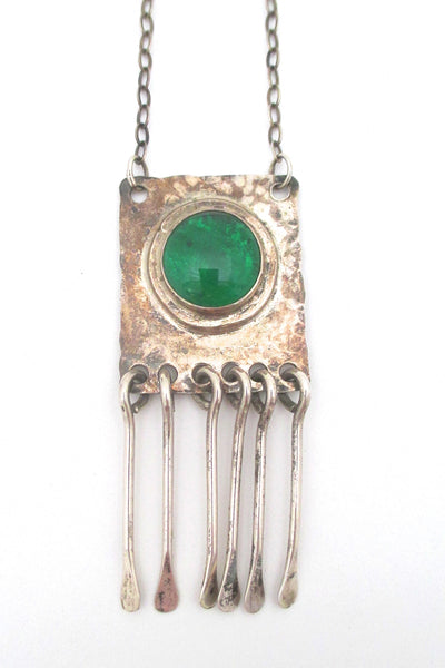 detail Rafael Alfandary Canada vintage brutalist sterling silver mirrored clear green stone fringe necklace