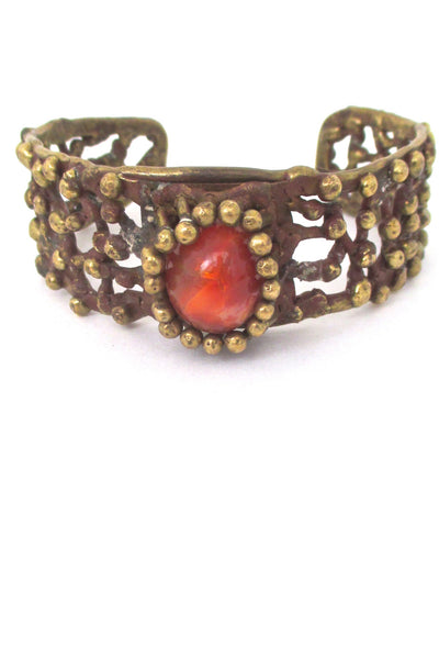 Pal Kepenyes brass & stone cuff bracelet at Samantha Howard Vintage