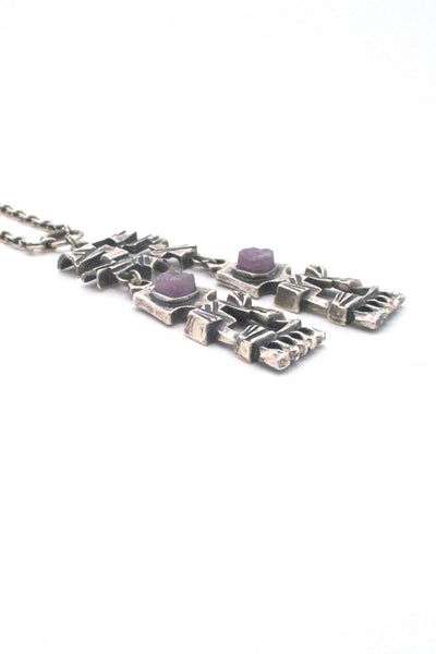Pentti Sarpaneva large kinetic silver & amethyst pendant necklace